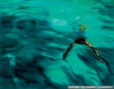 何汶玦抽象油画《水·2005 NO.58》欣赏