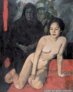 费正油画人体《以老妇为背景的女人体》欣赏