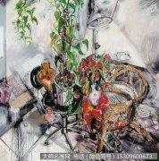 刘磊油画静物《有藤椅的静物之三》欣赏