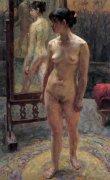 申胜秋人体油画《镜前站立的女人体》欣赏