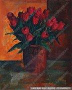 王岩花卉油画《红色郁金香》欣赏下载