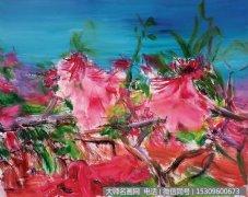 周春芽油画花卉《桃花》欣赏