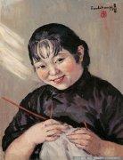 方君璧油画人物《织毛衣的女人》欣赏