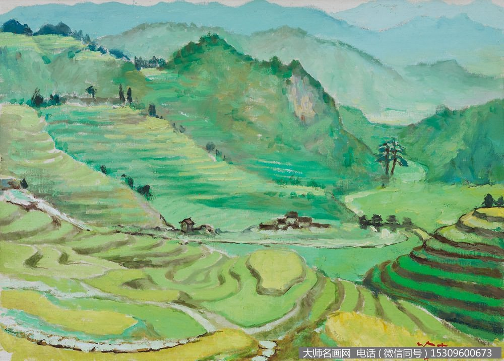 涂克风景油画《元宝山上的梯田》欣赏