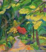 陈钧德抽象油画《红枫秋径路》欣赏下载