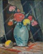 关良花卉油画《红玫瑰》欣赏下载